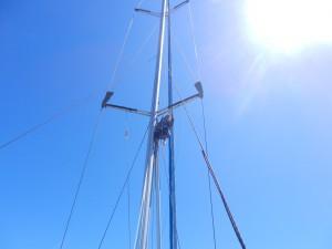 Lena för första gången uppe i masten.