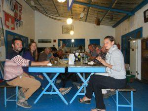 Club Vito Dumas klubbhus, med gemensam middag