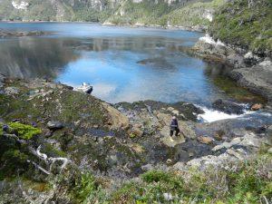 Litet vattenfall i viken Puerto Hopner