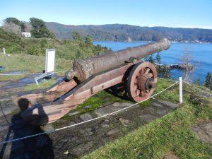 Ensam kanon vid fortet på Isla Mancera.