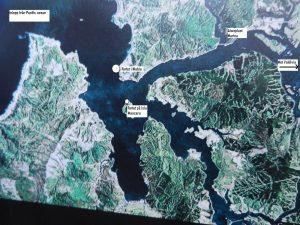 Egentillverkad bild över inloppet till Valdivia .
